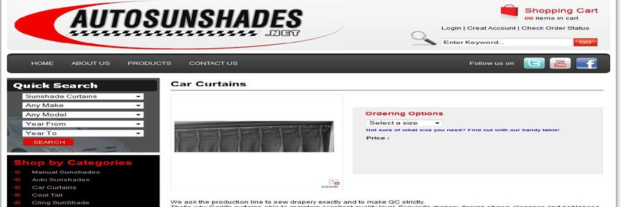 Auto sun Shades product details page