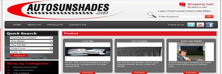Auto sun Shades product page